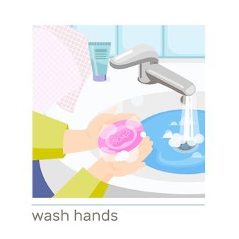 Menschliches händewaschen mit seife in flacher zusammensetzung des waschbeckens