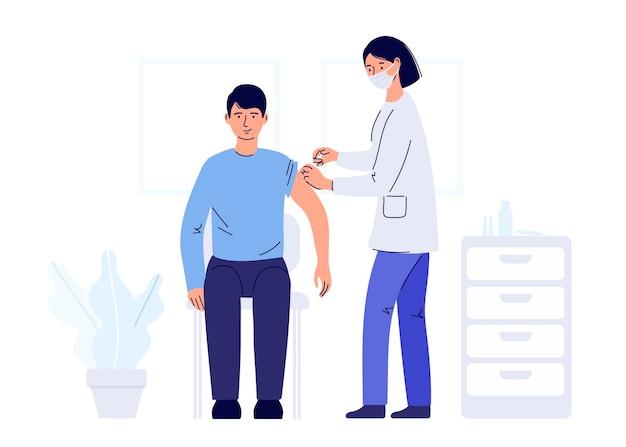 Menschliches immunisierungskonzept für immunitätsgesundheit covid19 eine ärztin, die eine schützende trägt