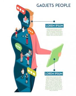 Menschliches infographics der geräte mit begriffszusammensetzung des mannes mit der tablettenzahl schnittansicht, die durch plaudern der leutevektorillustration bevölkert wird