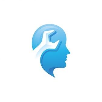 Menschliches kopf- und schraubenschlüssel-logo