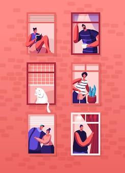 Menschliches lebenskonzept. äußere hauswand mit verschiedenen personen und katze an den fenstern. karikatur flache illustration