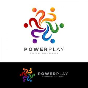 Menschliches logo des power play p-buchstabens
