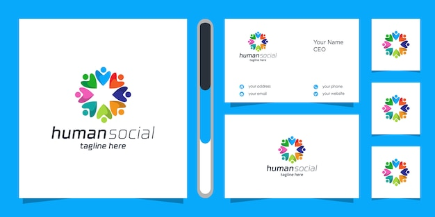 Menschliches logo und visitenkarte.