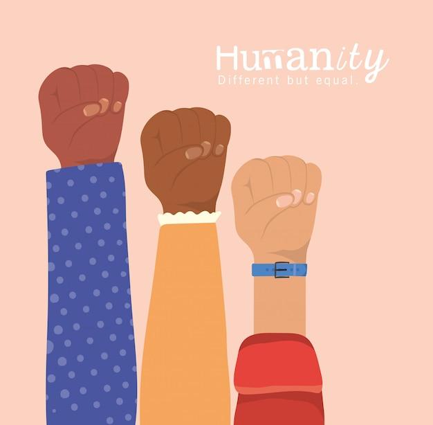 Menschlichkeit anders, aber gleich und vielfalt fäuste hände hoch design, menschen multiethnische rasse und gemeinschaftsthema