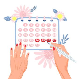 Menstruation. frau markiert monatlich im kalender