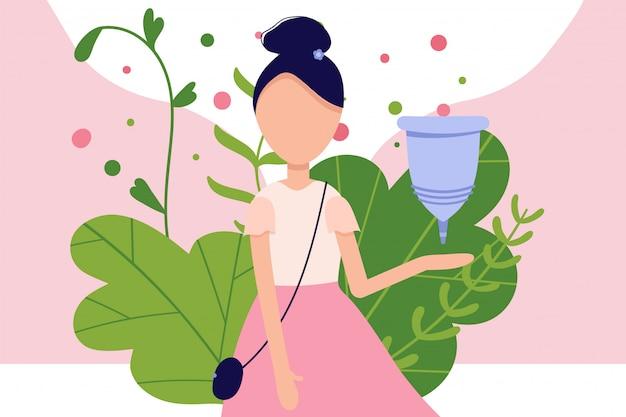 Menstruationsbeschwerden in der periode, verwenden sie die menstruationstasse in der vagina. zero waste weibliches gerät. menstuation frau zeitraum. körperhygiene.