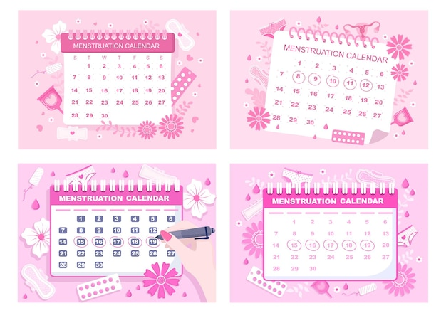 Menstruationskalender frauen zum überprüfen des datums-zyklus-illustration