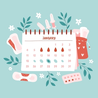 Menstruationskalender-konzeptillustration mit blumenelementen