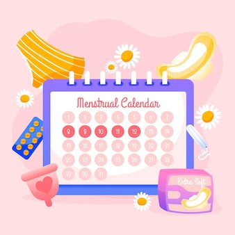Menstruationskalenderkonzept mit produkten