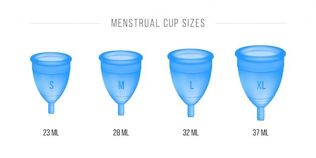Menstruationstasse eingestellt. 3d realistisch. weibliche intimhygiene, menstruationstasse. verschiedene tassengrößen s, m, l, xl.