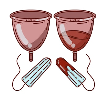 Menstruationstasse und tupfer