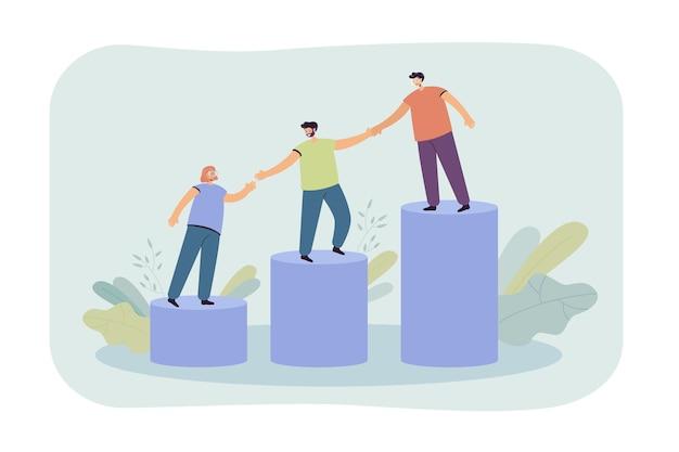Mentor hilft jungen mitarbeitern, auf das wachsende balkendiagramm zu klettern. team hält hände und geht zusammen die treppe hinauf