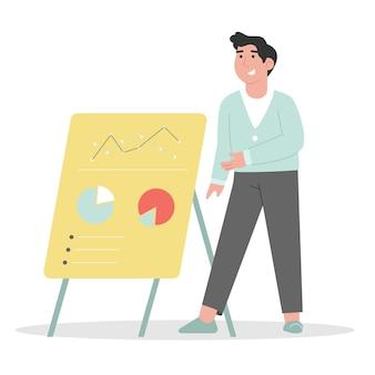 Mentor präsentiert diagramme auf der geschäftskonferenz