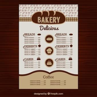 Menu bäckerei vorlage
