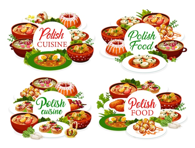Menü-cover-design der polnischen küche, polnische speisen, vektorrestaurantmahlzeiten. traditionelle polnische küche, schweineschnitzel und borschtsch, warschauer donuts und baba cupcake-gebäck mit zander