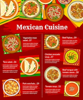 Menü der mexikanischen küche, mittag- oder abendessen, vektor-restaurant-poster. mexikanische küche traditionelle tacos, fajitas und fleischgerichte chili con carne, hühnchen-avocado-suppe und rinderzunge mit tomate