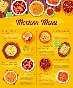 Menü der mexikanischen küche