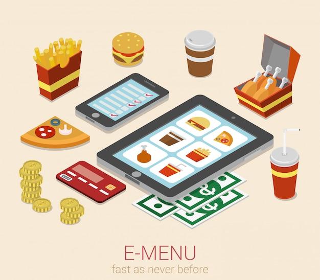 Menü des elektronischen tragbaren geräts des e-menüs auf isometrischem konzept der telefontablettenmahlzeit-online-bestellung