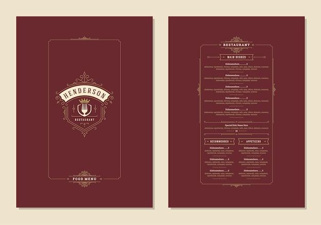 Menü-design-vorlage mit abdeckung und restaurant-vintage-logo-vektorbroschüre