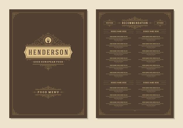 Menü design vorlage mit cover und restaurant vintage logo broschüre.