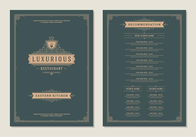 Menü design vorlage mit cover und restaurant vintage logo broschüre