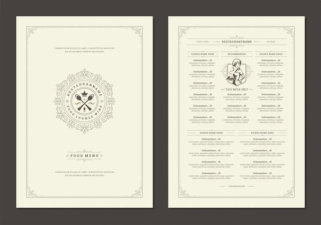 Menü designvorlage mit cover und restaurant vintage logo vektor broschüre.