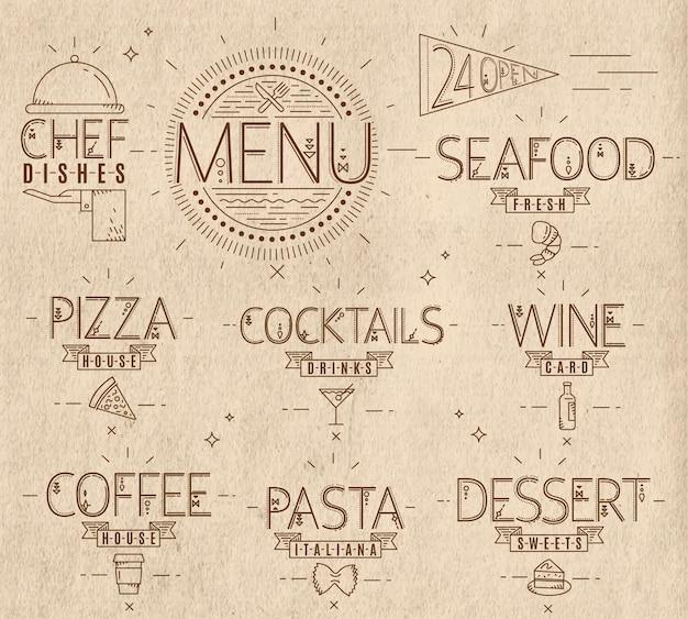 Menü in der weinleseart zeichnet symbolpizza, teigwaren, meeresfrüchte, wein, cocktails, kaffee