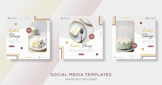 Menü-kuchen-süßigkeiten-banner-vorlage für social-media-post-premium-vektor