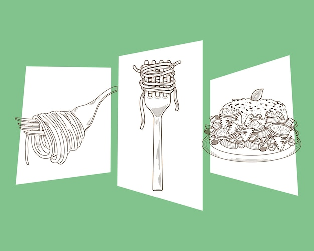 Menü mit drei italienischen pastatellern