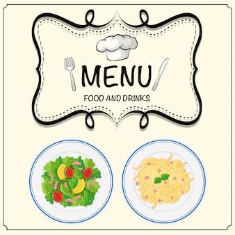 Menü mit salat und nudeln