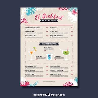 Menü mit verschiedenen cocktails im flachen stil
