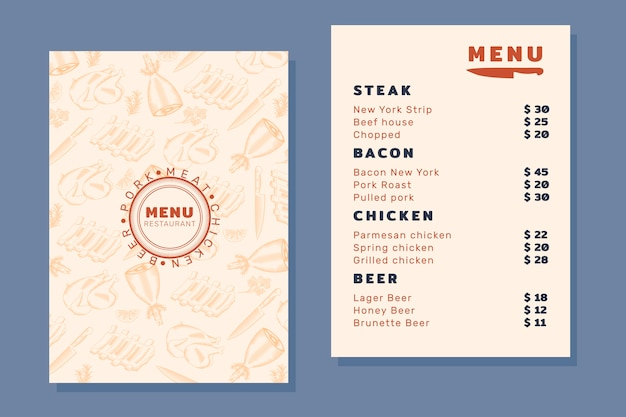 Menü mit verschiedenen gerichten und bier