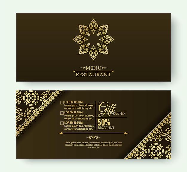 Menü restaurant luxus geschenkgutschein design-vorlage