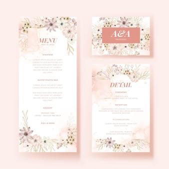 Menü- und detailkarte mit weicher designvorlage für blumen
