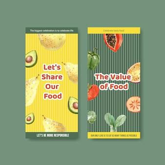 Menü und flyer mit konzeptentwurf des welternährungstages für restaurant- und faltblattaquarell