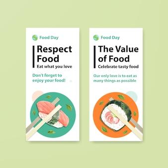 Menü und flyer mit konzeptentwurf des welternährungstages für restaurant- und faltblattaquarell Kostenlosen Vektoren