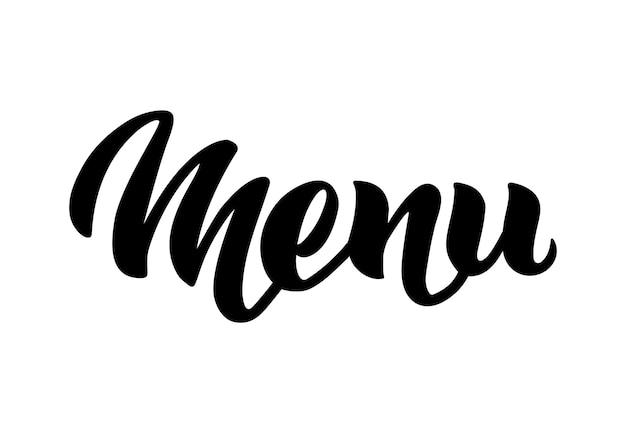 Menü wort hand schriftzug handgemachte vektorkalligraphie isoliert auf weiß restaurant menükarte