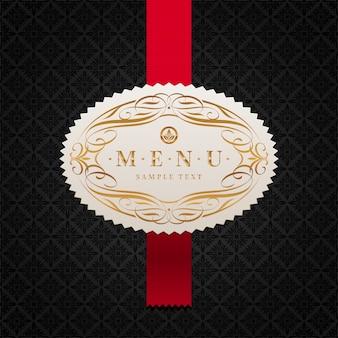 Menüabdeckungsschablone - dekoratives gerahmtes etikett und rotes band auf einem schwarzen musterhintergrund