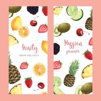 Menüdesign der tropischen früchte, passionfruit sommerwassermelonenmango, erdbeere, orange