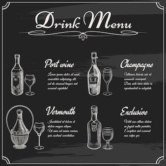 Menüelemente an der tafel trinken. restauranttafel zum zeichnen. hand gezeichnete tafelmenüvektorillustration