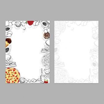 Menükarten-design für restaurant im doodle-stil