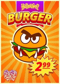 Menümonster mit burger. ein vertikales banner mit einem preisschild für ein fast-food-café am halloween-tag. vektor-illustration.