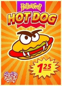 Menümonster mit vertikalem banner des hotdogs mit preisschild für halloween-tagesvektorillustration