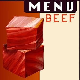Menüplakat mit rindfleisch in würfeln