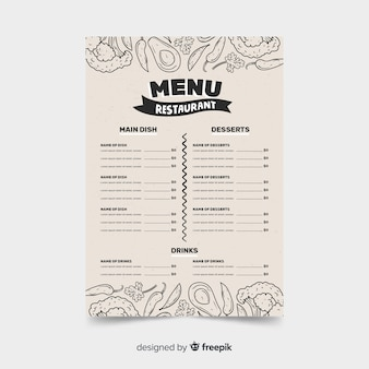 Menürestaurantschablone auf retrostil mit lebensmittelskizzen