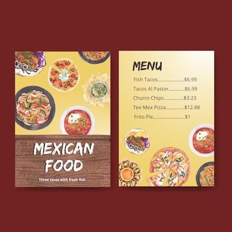 Menüschablone mit aquarellillustration des mexikanischen küchenkonzeptdesigns
