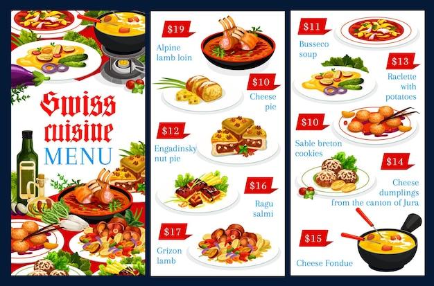 Menüvorlage der schweizer küche alpine lammlende