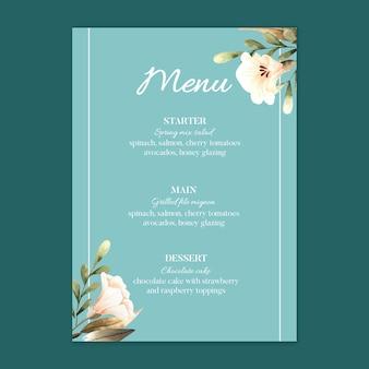 Menüvorlage des blumenhochzeitsrestaurants