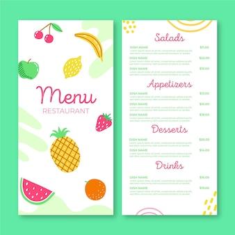 Menüvorlage des restaurants mit frischem obst