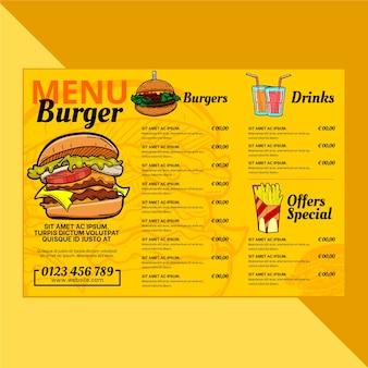 Menüvorlage für burger-restaurants